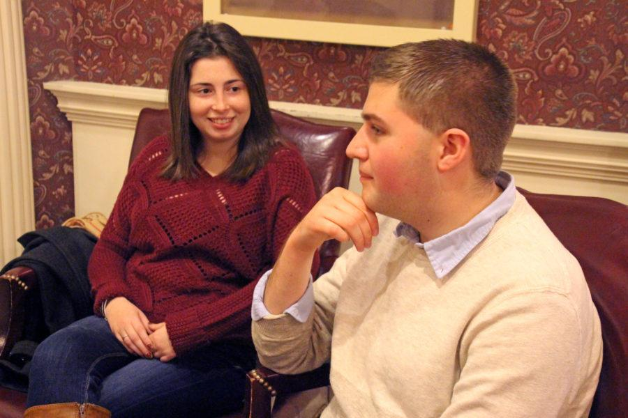 Student+Senate+vice-presidents+%28left%29+Sarah+Hochman+and+Matt+Hill+discuss+what+they+have+done+during+their+time+in+the+Senate.