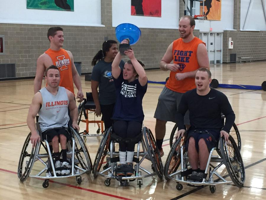 "Illinois wheelchair basketball held their annual ""popcorn bowl"""
