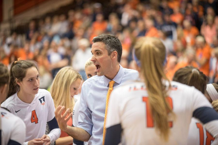 Head+coach+Kevin+Humbly+talks+to+his+team+during+the+game+against+Iowa+at+Huff+Hall+on+Friday%2C+Oct.+16.+Illinois+won+3-0.