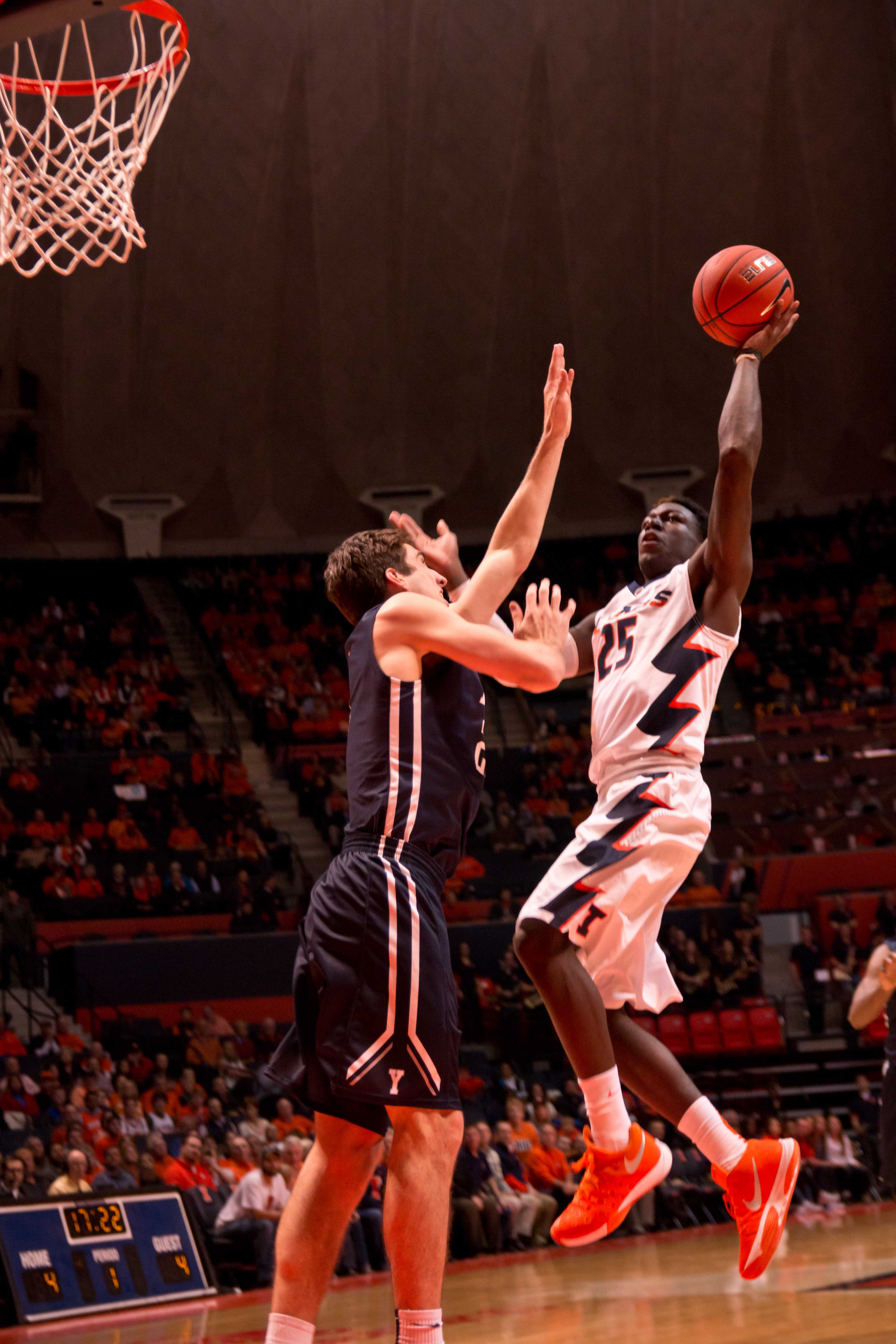 Kendrick Nunn slices in for a layup during Illinois' 69-65 win over Yale on Wednesday at State Farm Center