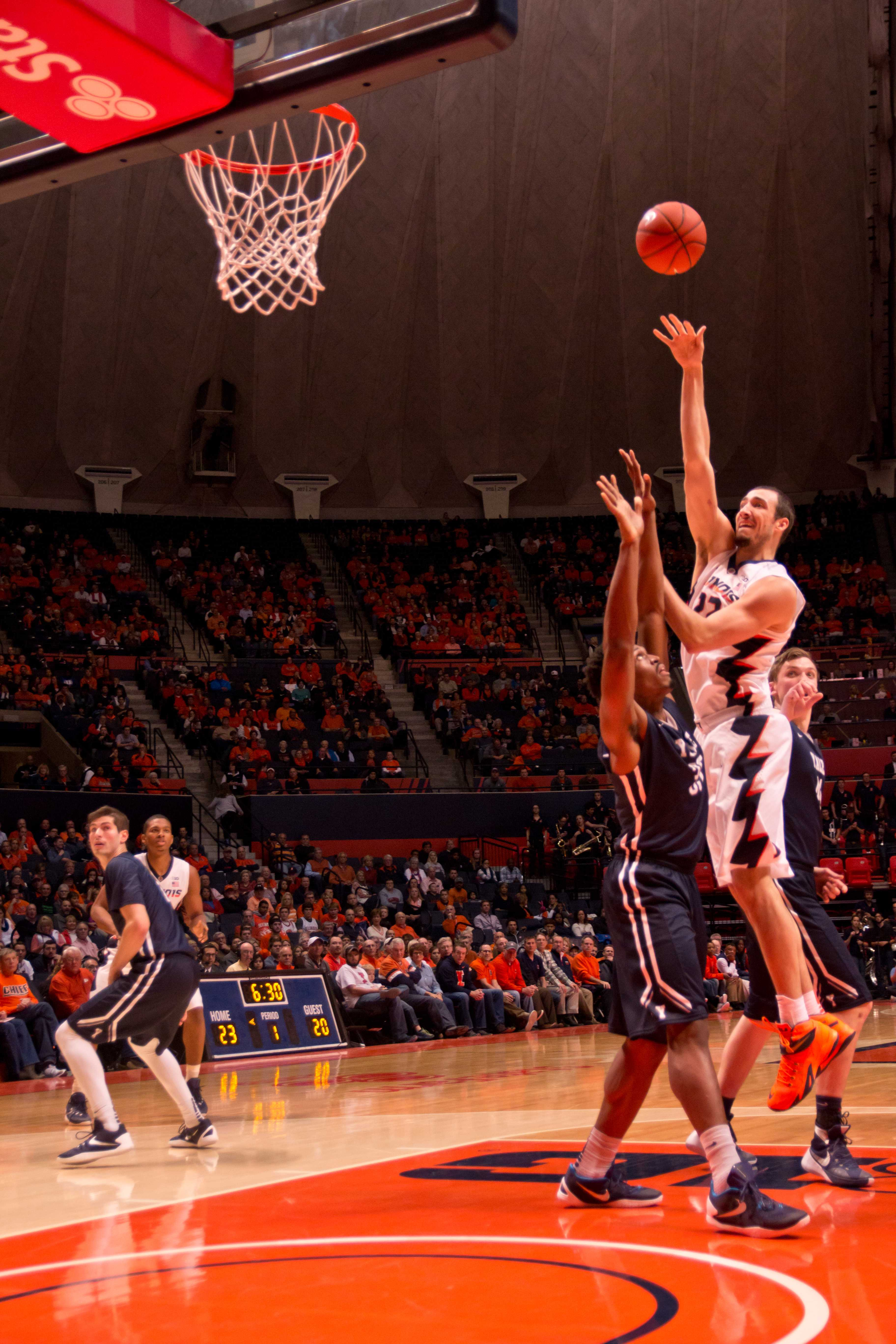 Maverick Morgan puts up a shot during Illinois' 69-65 win over Yale on Wednesday.