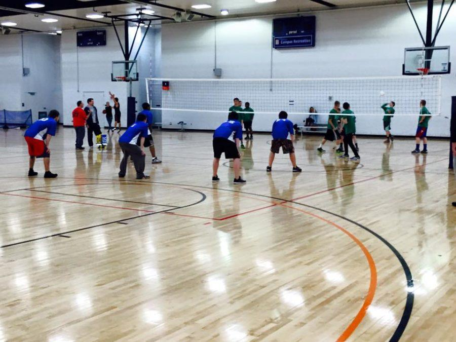 Two teams face off in the IIAA's volleyball tournament at the ARC on Saturday, Dec. 12. Photo courtesy of Tom Corr, IIAA