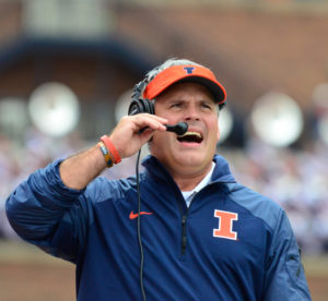 Illinois' Tim Beckman during the game against Western Kentucky at Memorial Stadium on Saturday, Sept. 6, 2014. The Illini won 42-34.