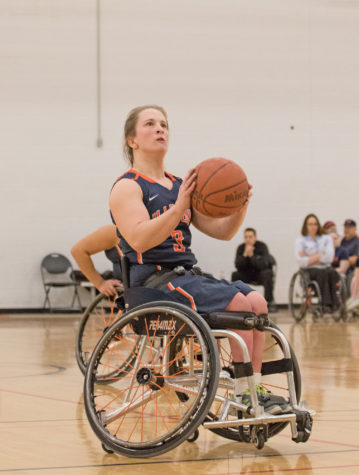 Illinois' Gail Gaeng (3) readies up for a shot during the wheelchair basketball game v. UWW at the ARC on Friday, Feb. 13, 2015. Illinois won 50-42.