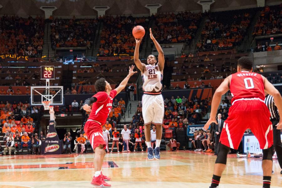 Illinois%27+Malcolm+Hill+shoots+a+3-pointer+over+Nebraska%27s+Shavon+Shields+during+the+Illini%27s+78-67+loss+to+the+Huskers+at+State+Farm+Center+on+Saturday.