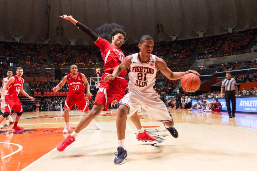 Illinois%27+Malcolm+Hill+keeps+control+of+his+dribble+while+being+guarded+by+Nebraska%27s+Shavon+Shields+during+the+Illini%27s+78-67+loss+to+the+Huskers+at+State+Farm+Center+on+Saturday.
