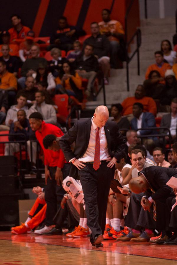 Illinois head coach John Groce looks down in disbelief during the game against Yale at the State Farm Center on Wednesday, December 9, 2015. The Illini won 69-65.