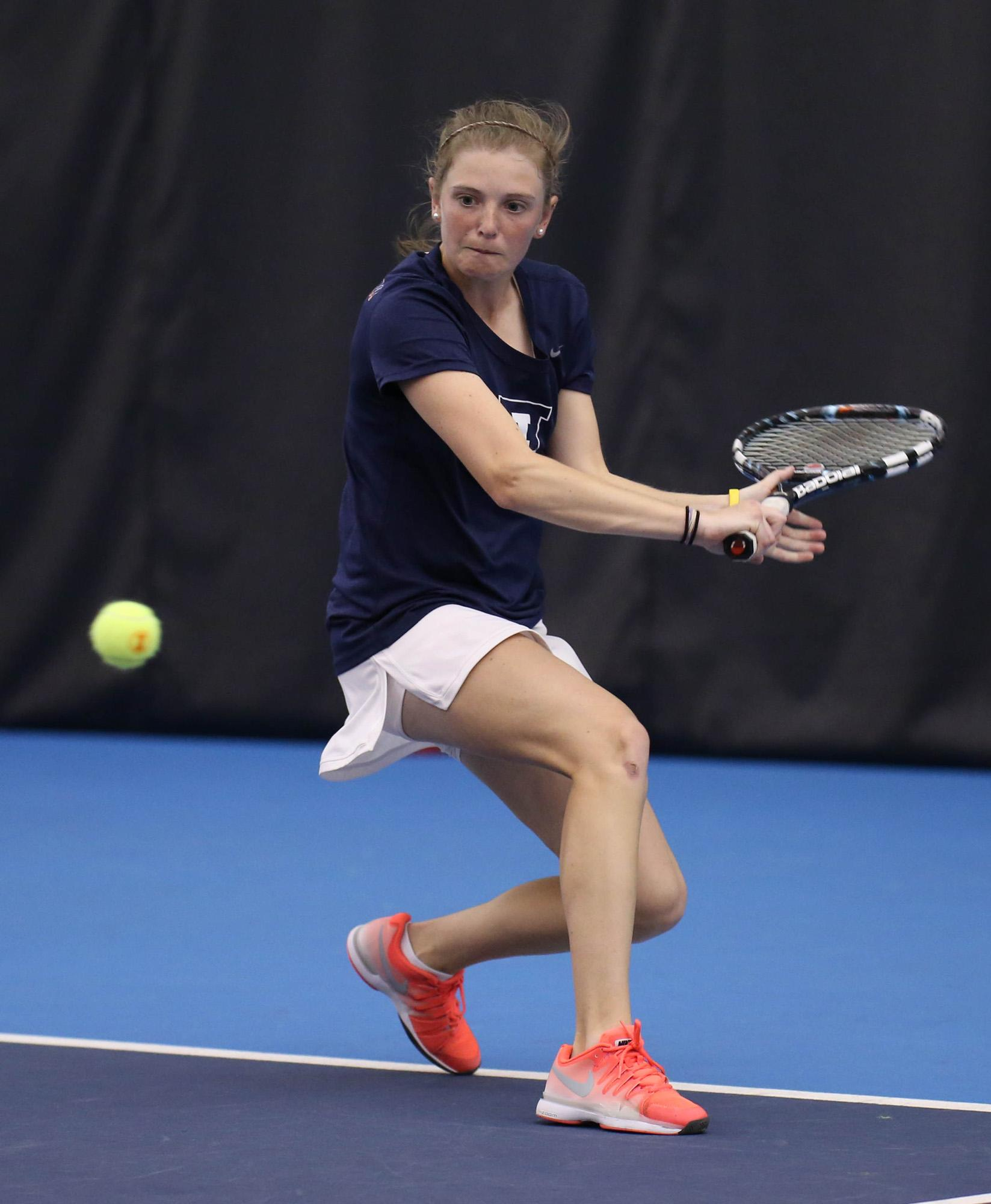 Illinois Alexis Casati attempts to return the ball during the match against Iowa at Atkins Tennis Center, on April 19, 2015. The Illini won 6-1.
