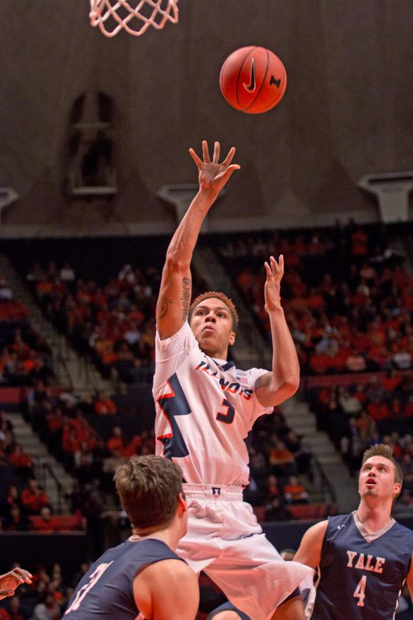 Illinois+guard+Khalid+Lewis%283%29+takes+a+jump+shot+during+the+game+against+Yale+at+the+State+Farm+Center+on+Wednesday%2C+December+9%2C+2015.+The+Illini+won+69-65.