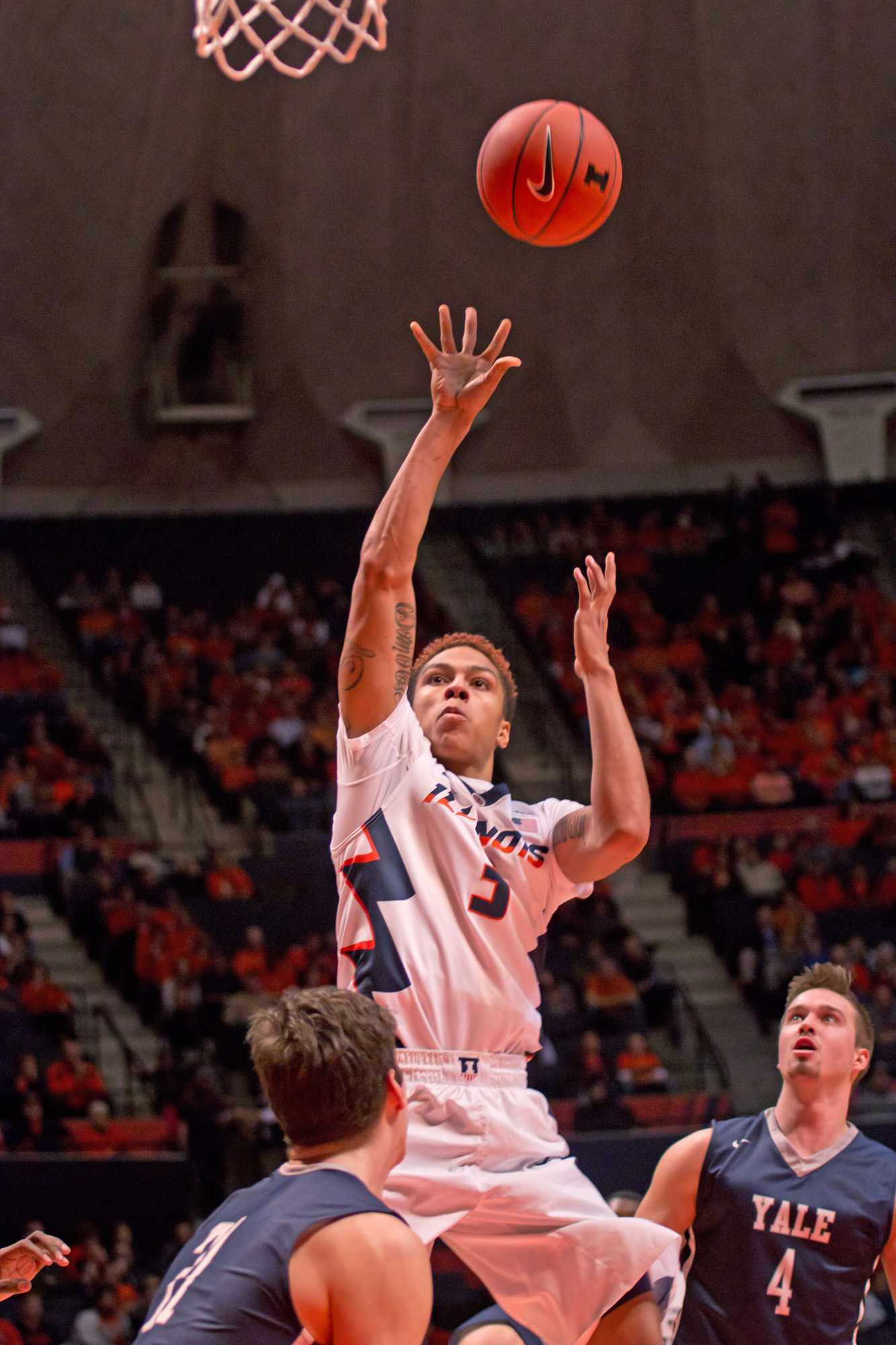 Illinois guard Khalid Lewis(3) takes a jump shot during the game against Yale at the State Farm Center on Wednesday, December 9, 2015. The Illini won 69-65.