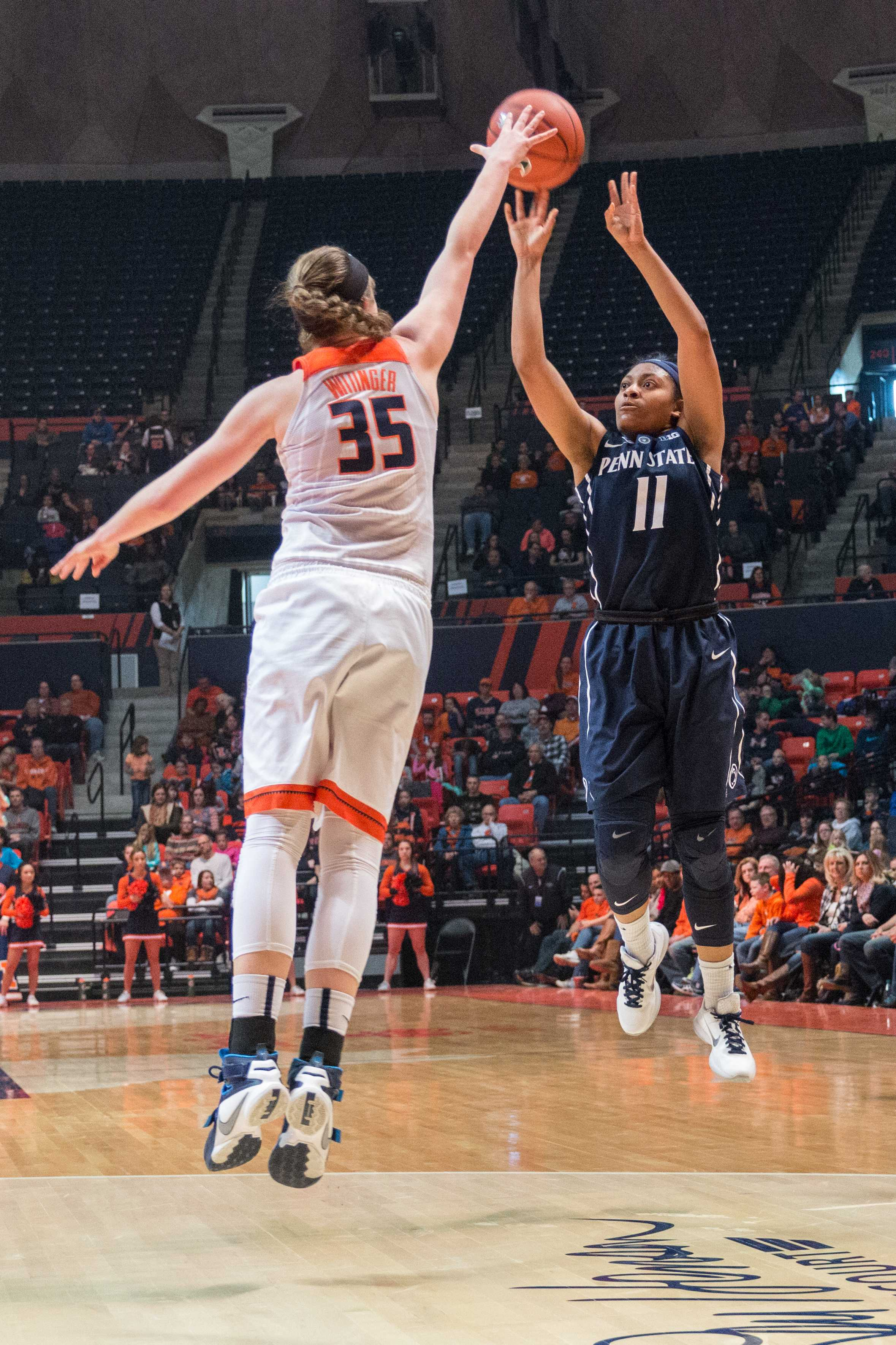 Penn State's Teniya Page shoots a 3-pointer over Illinois' Alex Wittinger. Teniya scored 17 points in the second half to help the Nittany Lions defeat the Illini 65-56 on Saturday, Jan. 23 at State Farm Center.