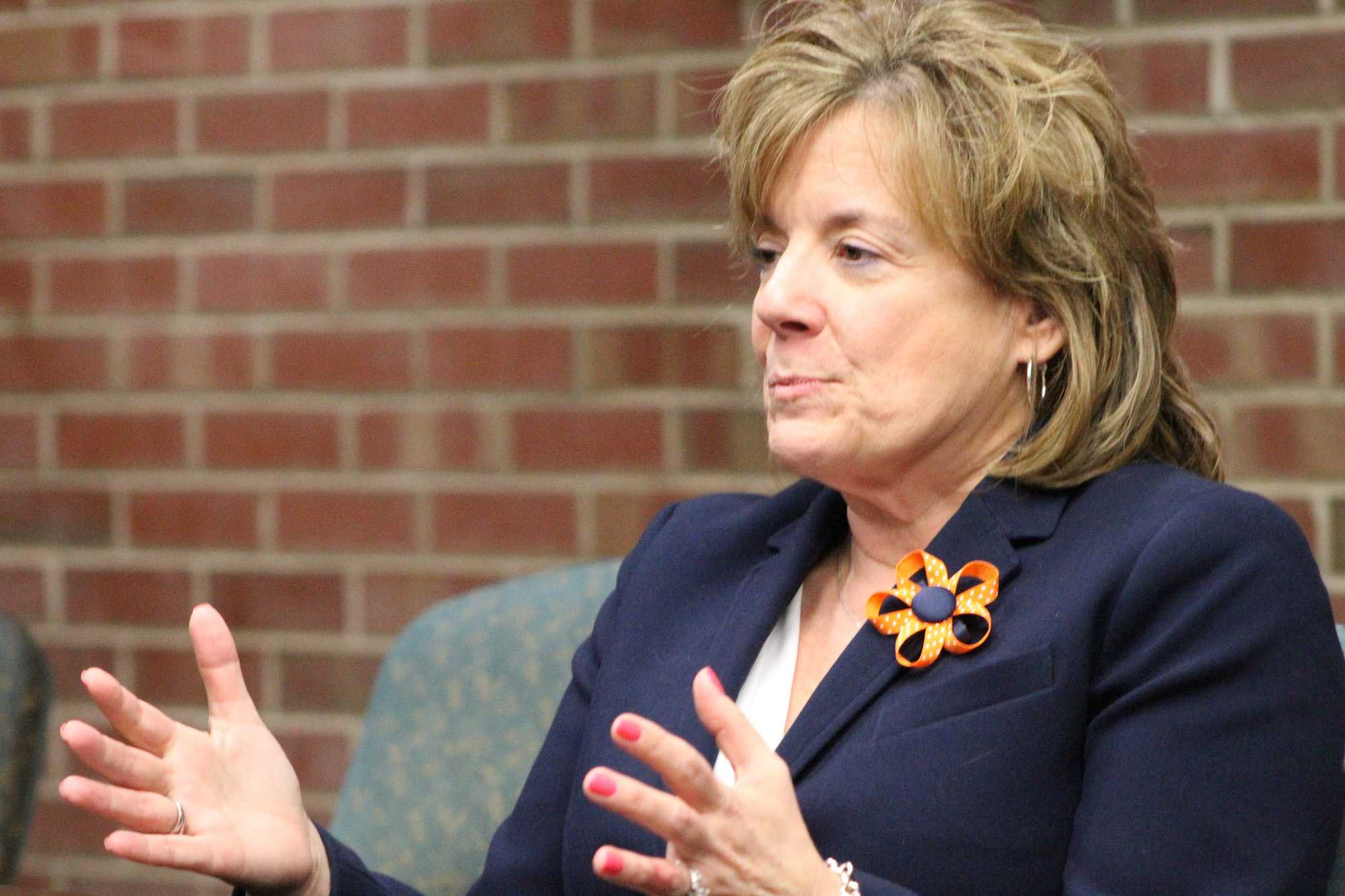 Interim Chancellor Barbara Wilson speaks with The Daily Illini's Editorial Board on Jan. 14 at the University of Illinois-Chicago campus. Wilson discussed the University's search for a new athletic director, among many other University-related matters.