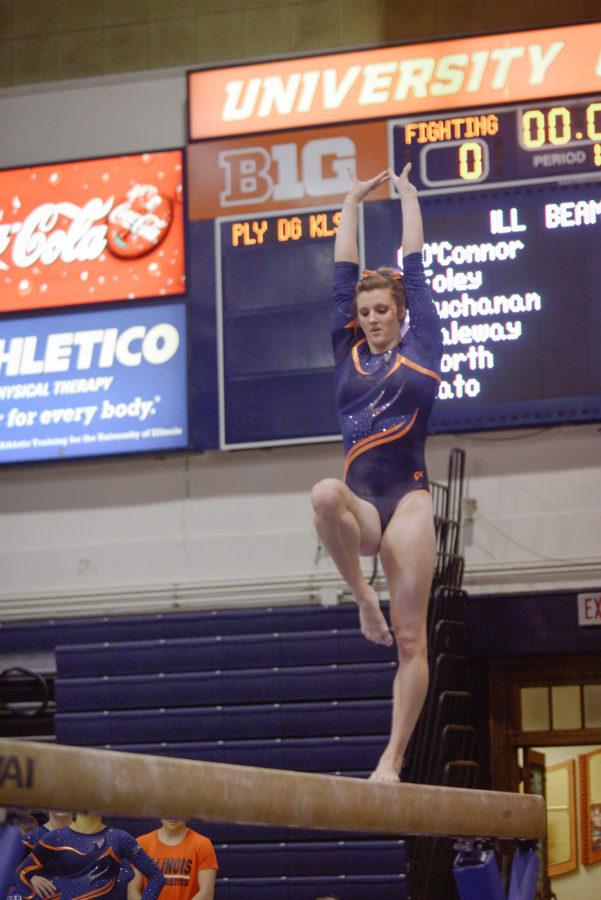 Illinois' Mary Jane Horth performs a routine on the balance beam during the meet against Minnesota at Huff Hall on Saturday, February 7, 2015. The Illini won 195.775-195.375.