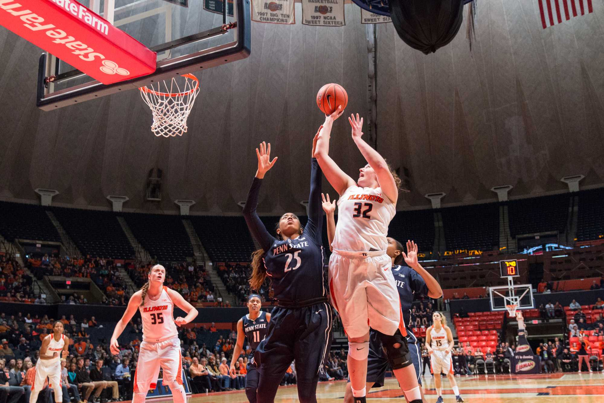 Illinois' Chatrice White goes up for a layup during the game against Penn State at the State Farm Center on January 23. The Illini lost 65-56.