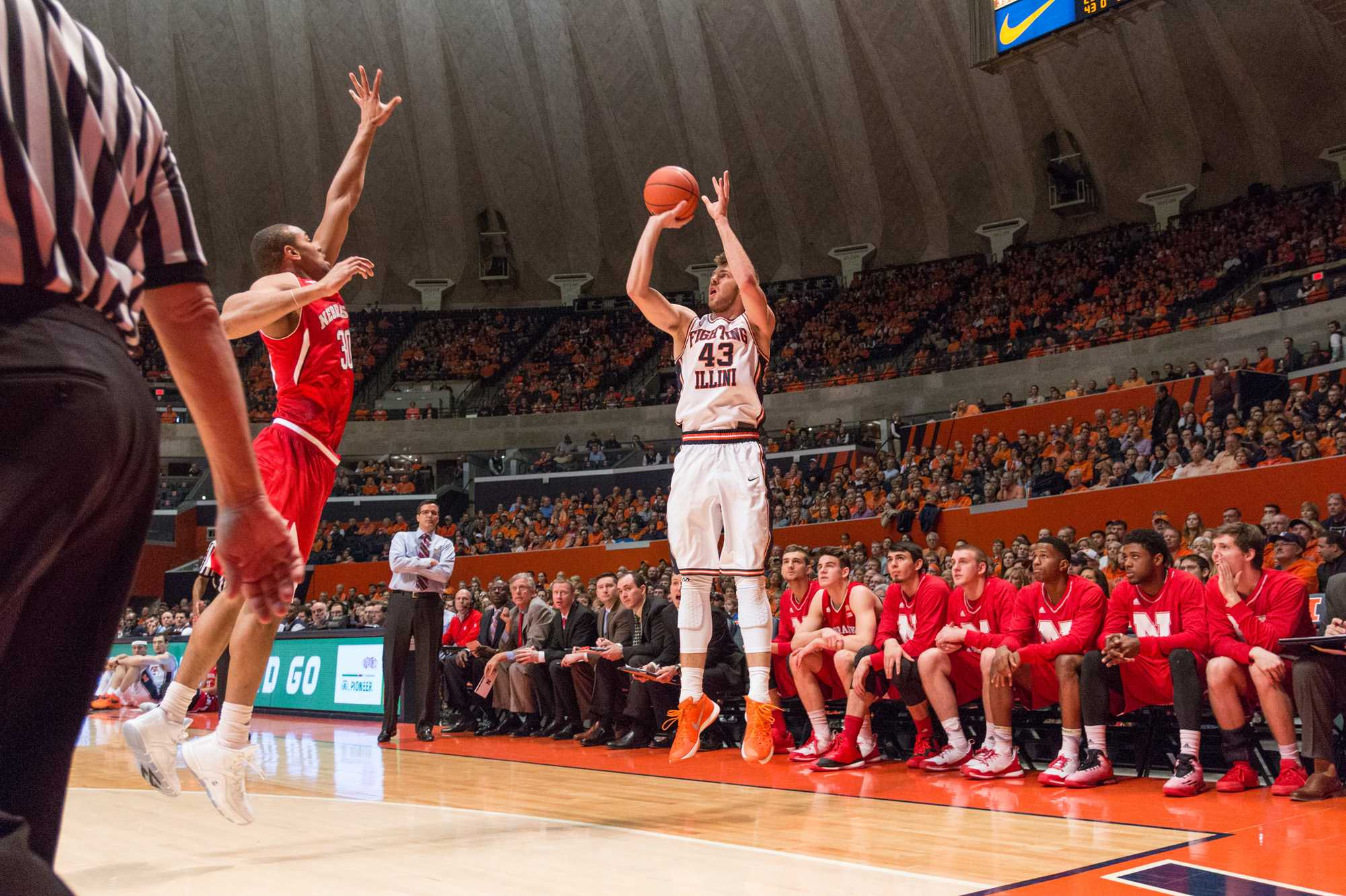 Illinois' Michael Finke shoots a 3-pointer during the Illini's 78-67 loss to the Huskers at State Farm Center on Saturday, January 16.