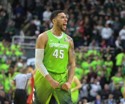 Michigan State's Denzel Valentine celebrates after a 74-65 win against Maryland on Saturday, Jan. 23, 2016, at the Breslin Center in East Lansing, Mich. (Kirthmon F. Dozier/Detroit Free Press/TNS)