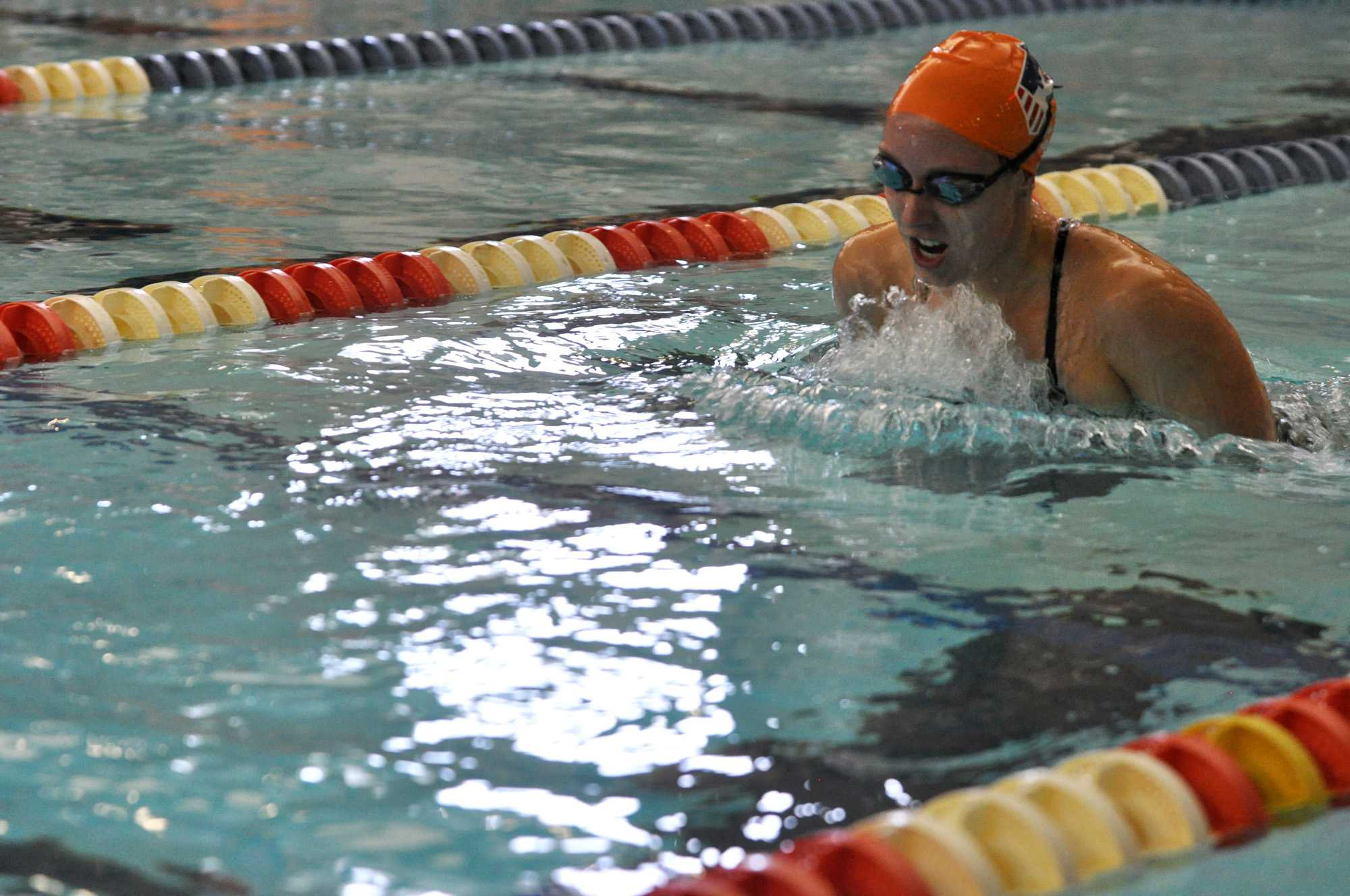 Stephanie Hein, senior, swims the breaststroke in the 400 yard IM at the Fighting Illini Dual Meet Spectacular in the ARC Pool on October 16, 2015.