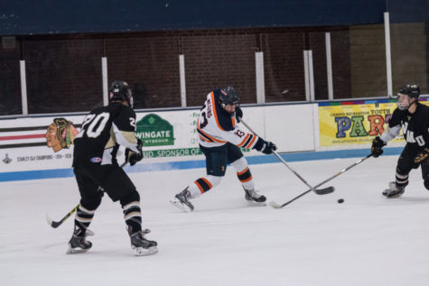 Illinois' James Mcging (13) fights for puck during the game against Western Michigan University at the Ice Arena on Saturday, Dec. 12, 2015. Illinois won 4-3.