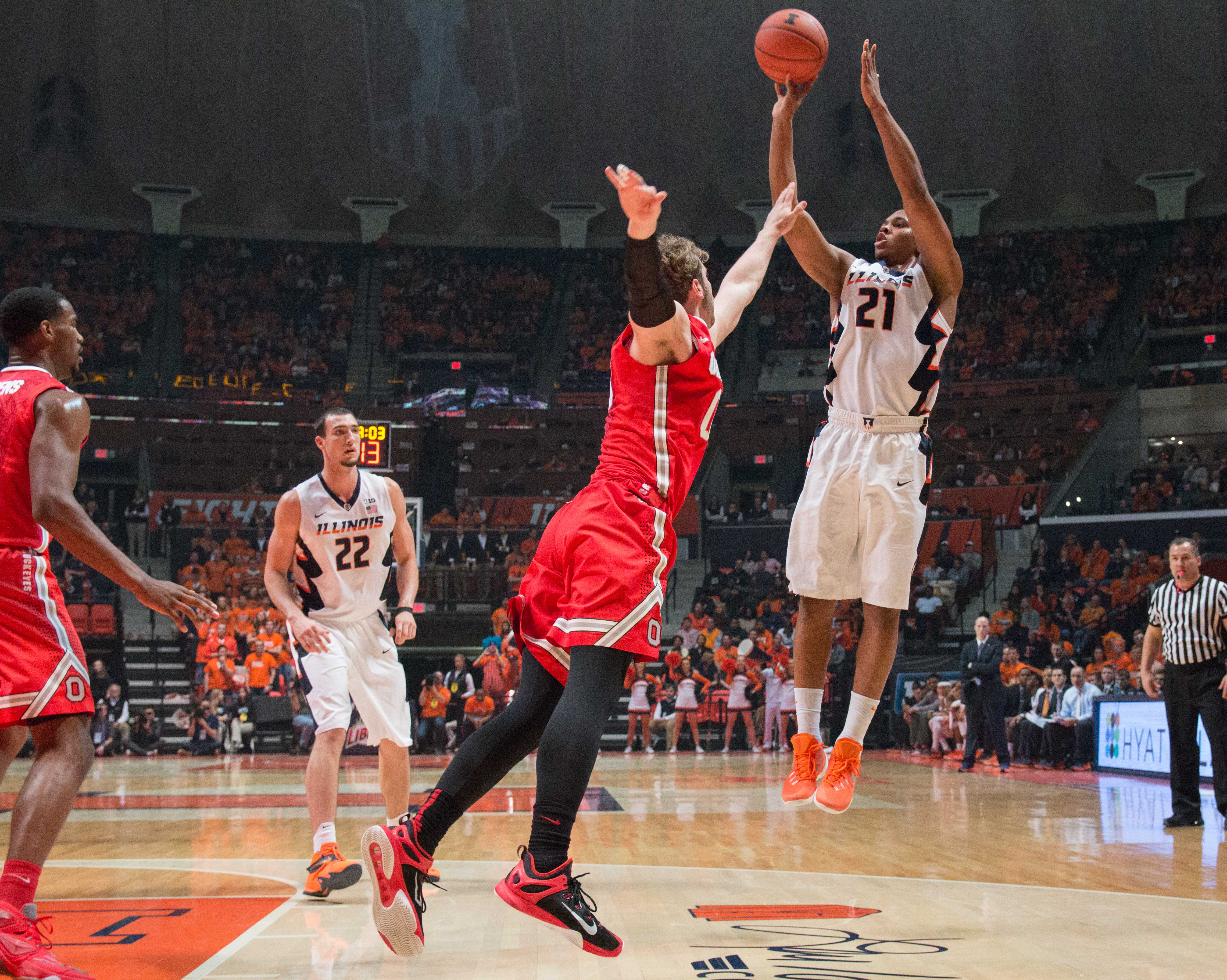 Malcolm Hill (21) rises up for jumper during Illinois' 68-63 loss to Ohio State on Thursday, Jan. 28 at State Farm Center. Hill shot 3-for-14 and Illinois went 18-for-56 from the field in the overtime defeat.