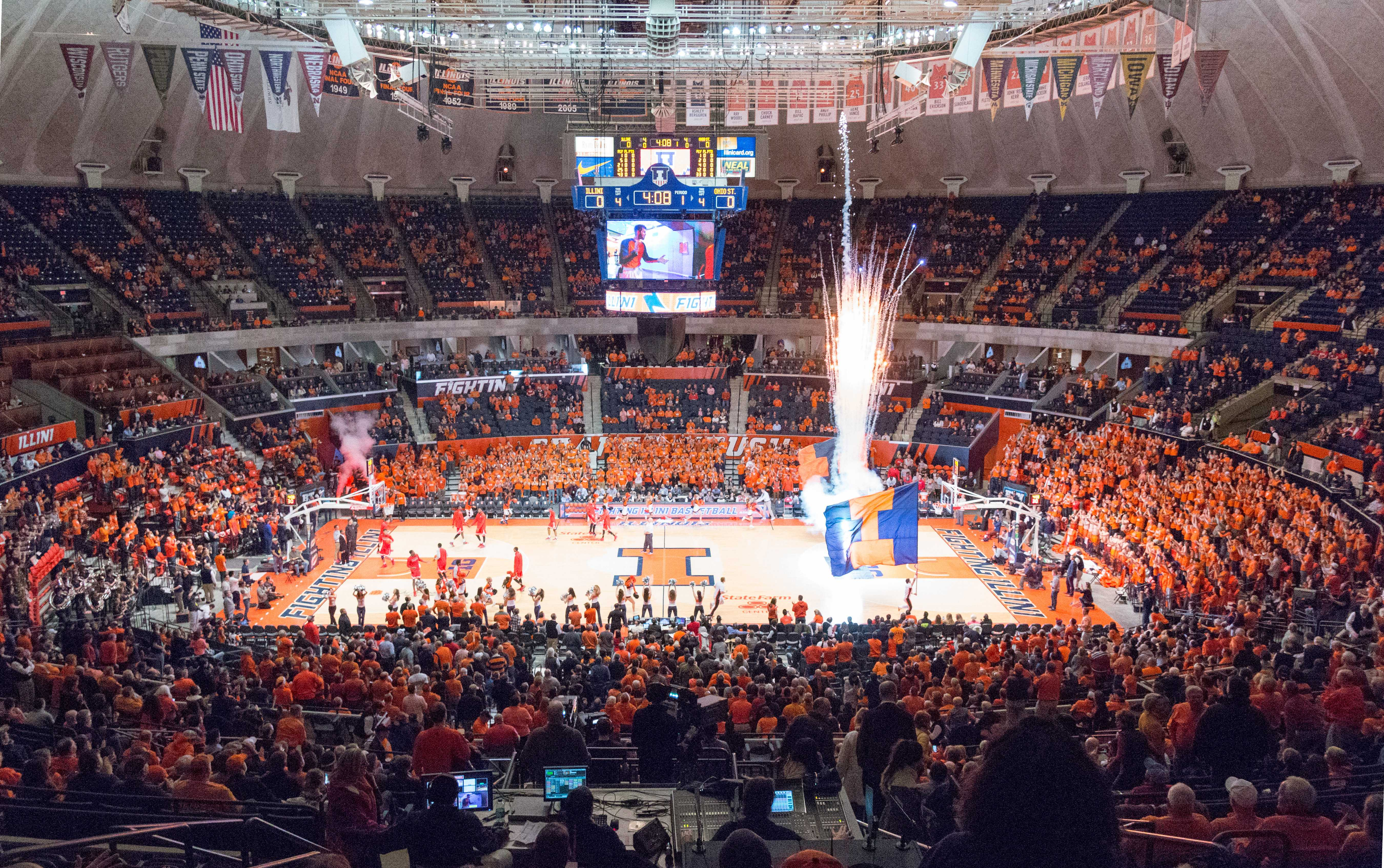 Fireworks shoot into the air inside State Farm Center just before the Illinois men's basketball team takes the court to face Ohio State on Thursday, Jan. 28.