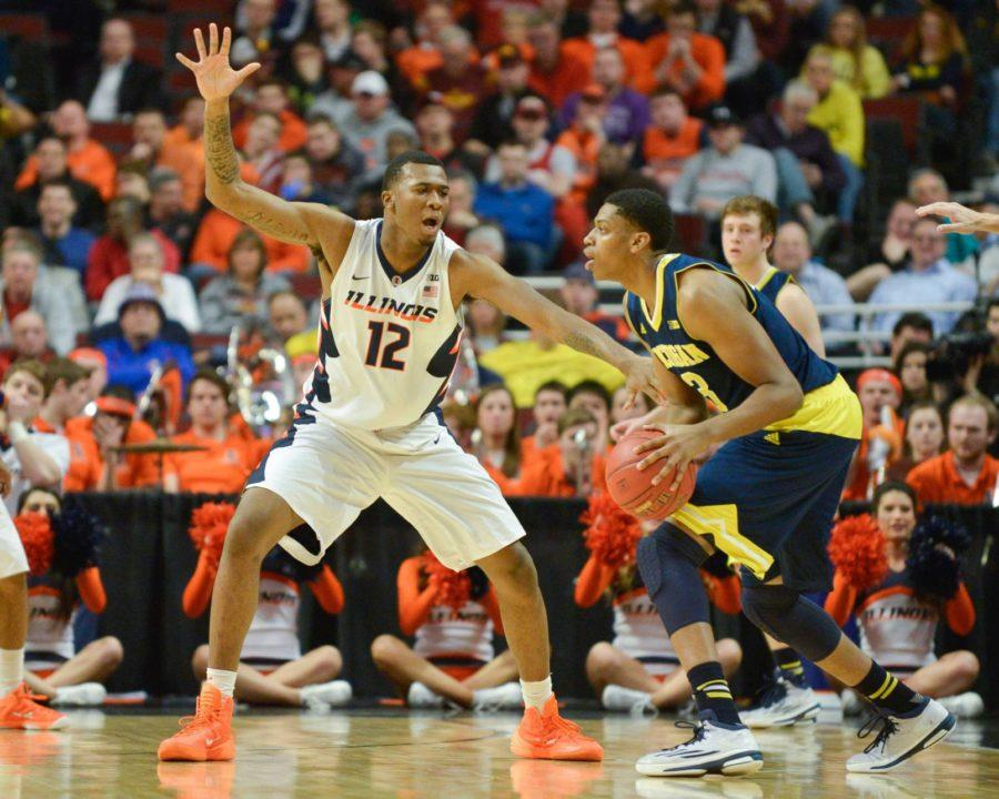 Illinois%27+Leron+Black+during+last+season%27s+Big+Ten+tournament+game+against+Michigan.+Black+was+arrested+late+Thursday+for+allegedly+pulling+a+knife+on+a+nightclub+bouncer.