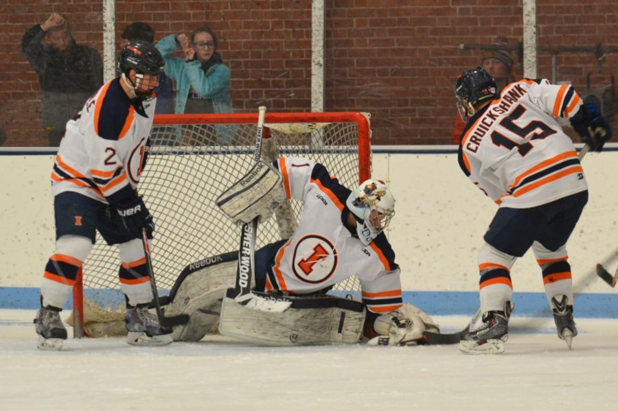 Zoe Grant The Daily Illini Zev Grumet-Morris blocks a goal during the game against Oklahoma on January 31, 2015.