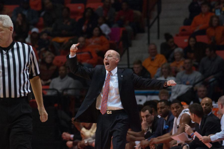 Illinois+head+coach+John+Groce+shouts+directions+to+his+team+during+during+the+Illini%27s+84-70+victory+over+Purdue+at+State+Farm+Center+on+Sunday.