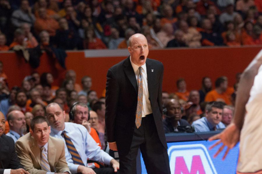 Illinois+head+coach+John+Groce+yells+instructions+at+his+team+during+the+Illini%27s+78-67+loss+to+Nebraska+at+State+Farm+Center+earlier+this+season.