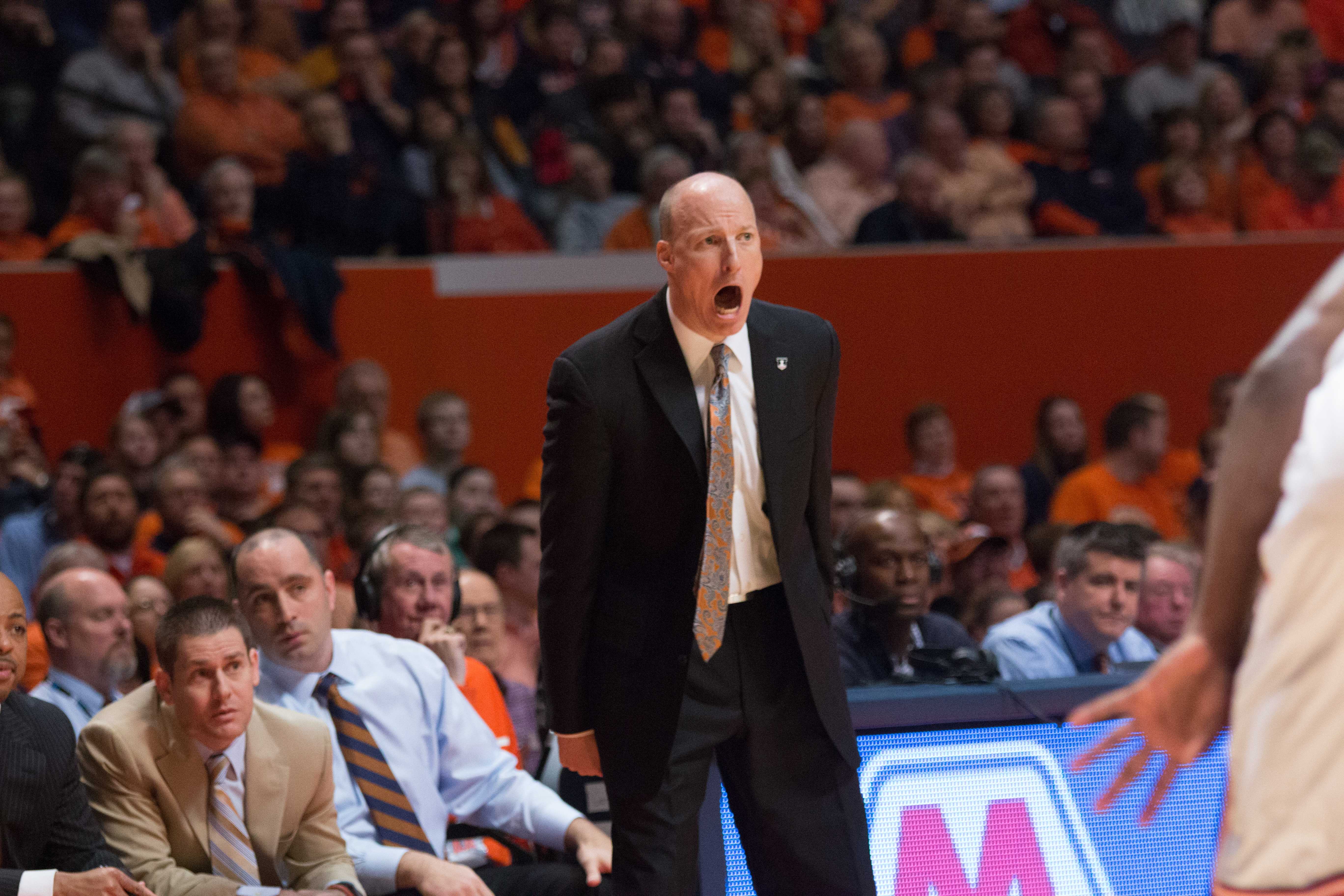 Illinois head coach John Groce yells instructions at his team during the Illini's 78-67 loss to Nebraska at State Farm Center earlier this season.