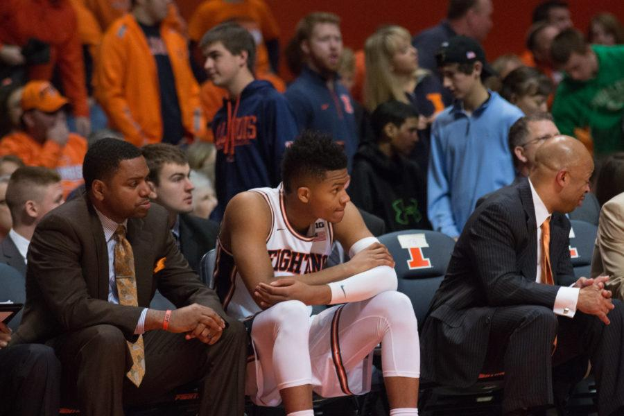 Illinois' D.J. Williams watches the action from the bench during the second half of the Illini's 78-67 loss to Nebraska at State Farm Center on Saturday.