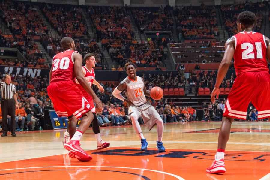 Illinois' Kendrick Nunn shouting in pain and grabbing his hip during the Illini's 63-55 loss to Wisconsin. Nunn suffered a hip contusion but checked back into the game shortly after.