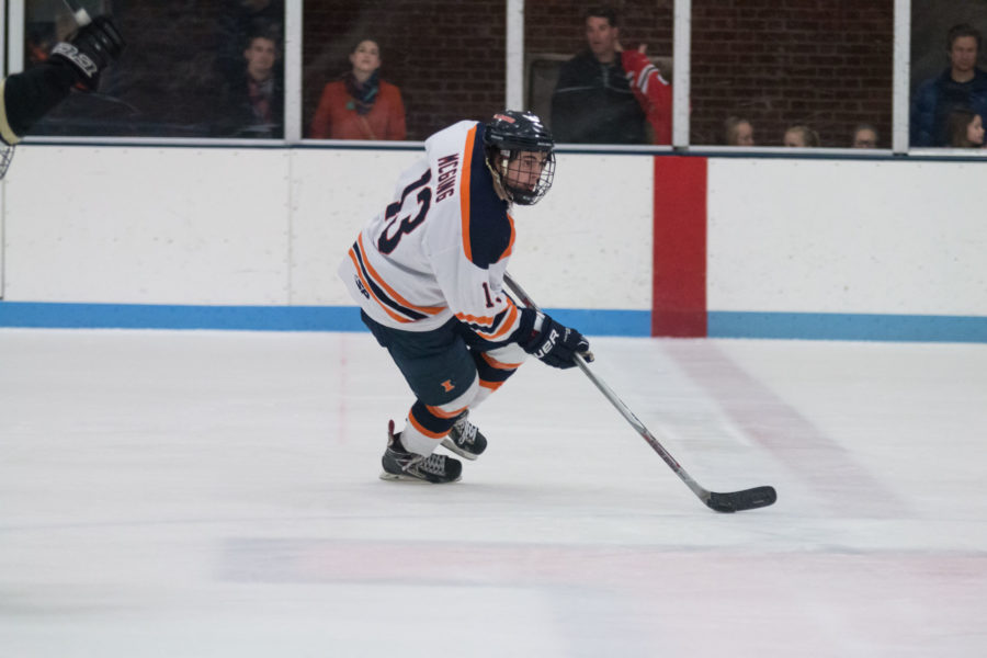 Illinois%27+James+McGing+carries+the+puck+up+the+ice+during+the+game+against+Lindenwood+University+at+the+Ice+Arena+on+Saturday.+The+Illini+lost+4-1.