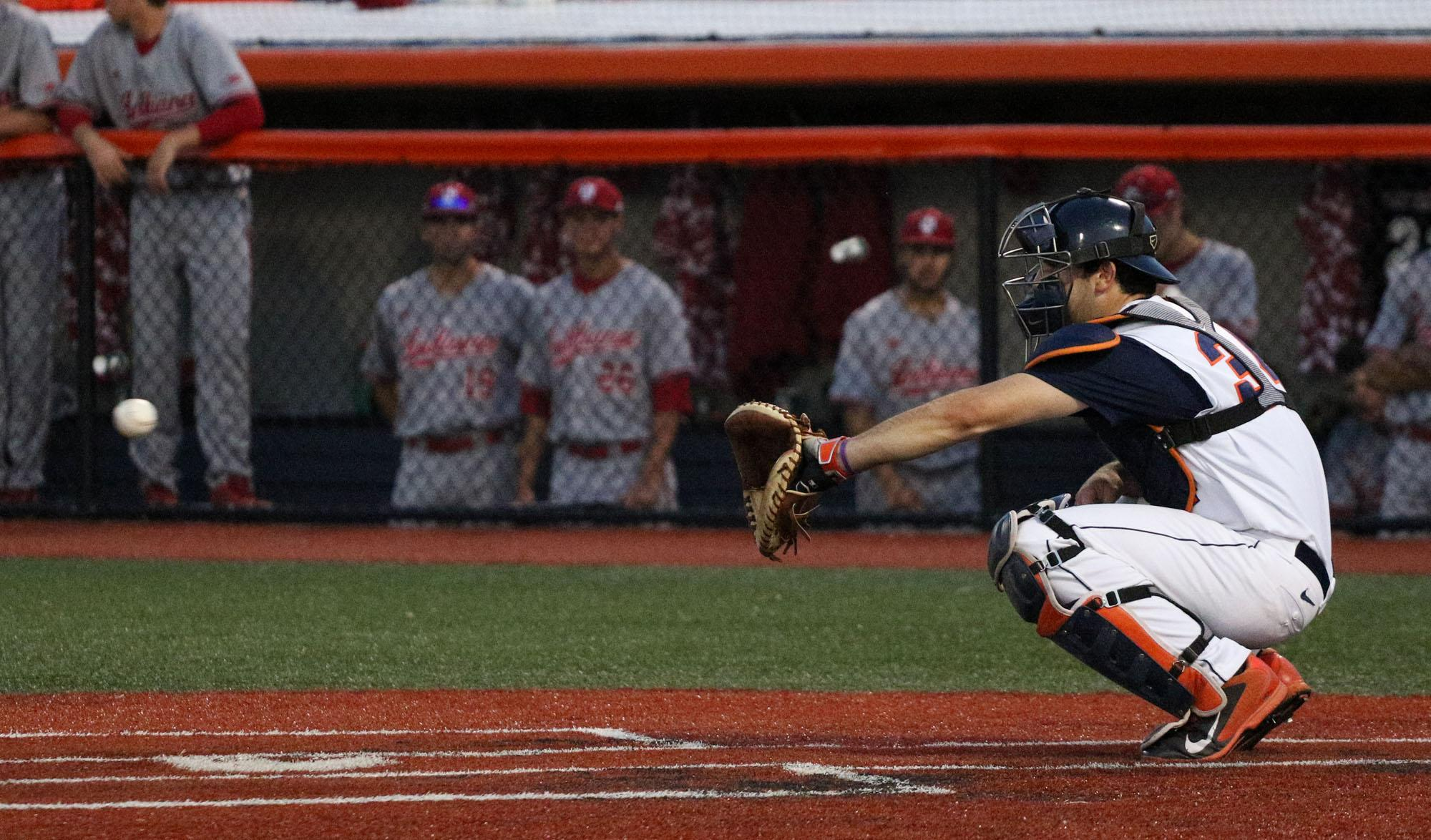 Illinois' Jason Goldstein (34) warms up before the start of the inning during the baseball game v. Indiana at Illinois Field on Friday, Apr. 17, 2015. Illinois won 5-1.