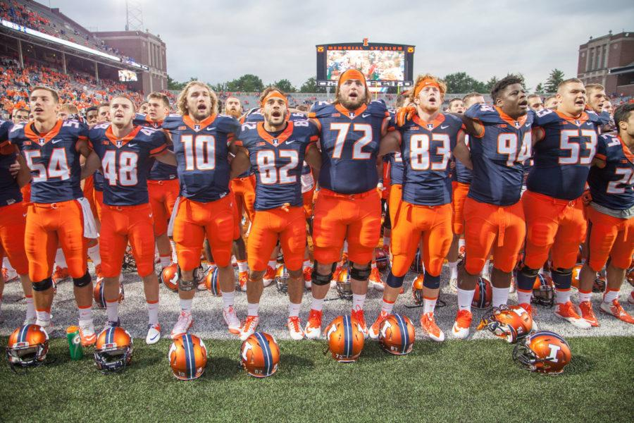Illinois football players sing Alma Mater with the Fighting Illini following Illinois' 27-25 win over Middle Tennessee State on Sept. 26. Front and center in the photo is Gabe Megginson (72), Illinois' highest-ranked recruit last season.