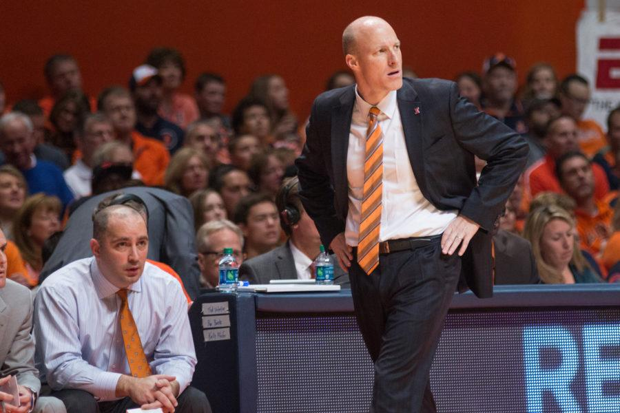 Illinois head coach John Groce patrolling the sideline during Illinois' 78-68 loss to Michigan at State Farm Center on Wednesday, December 30.
