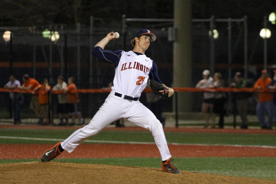Illinois' Cody Sedlock (29) winds up for the pitch during the baseball game v. Indiana at Illinois Field on Friday, Apr. 17, 2015. Illinois won 5-1.
