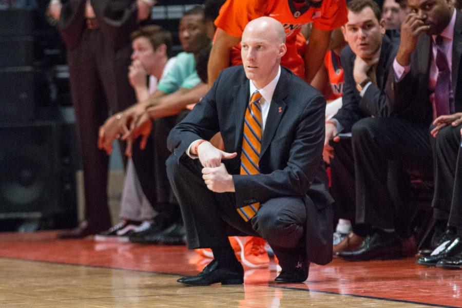Illinois head coach John Groce watches his team from the sidelines during the game against Iowa at the State Farm Center on February 7. The Illini lost 77-65.