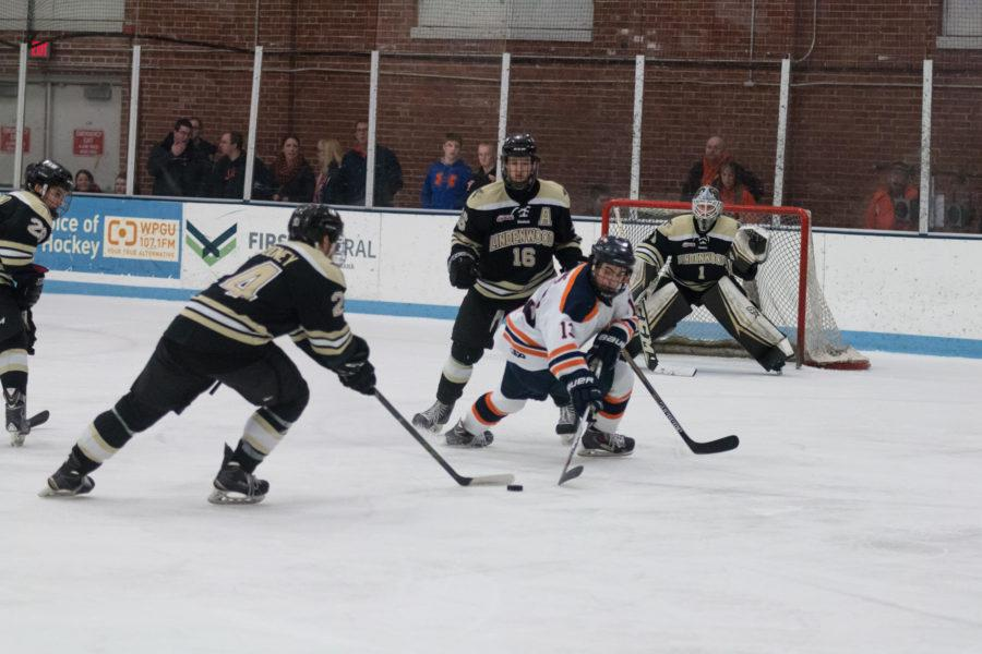 Illinois James Mcging fights for possession of the puck during the game against Lindenwold University at the Ice Arena on Saturday, January 30. The Illini lost 4-1.