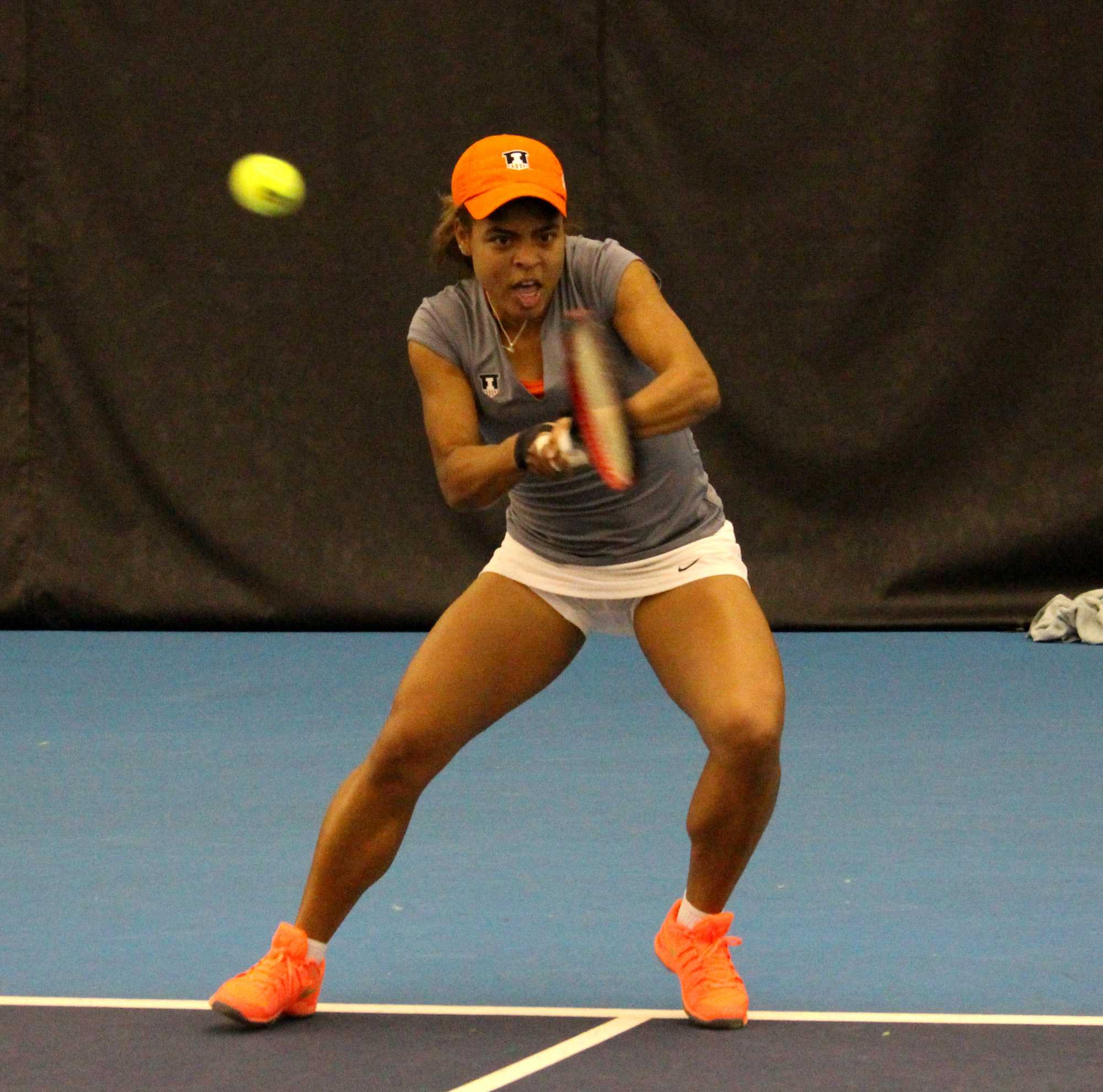 Jerricka Boone getting ready to send the ball back towards Kentucky in the singles matches at the Atkins Tennis Center on February 6, 2016. Kentucky won the match 7-0.