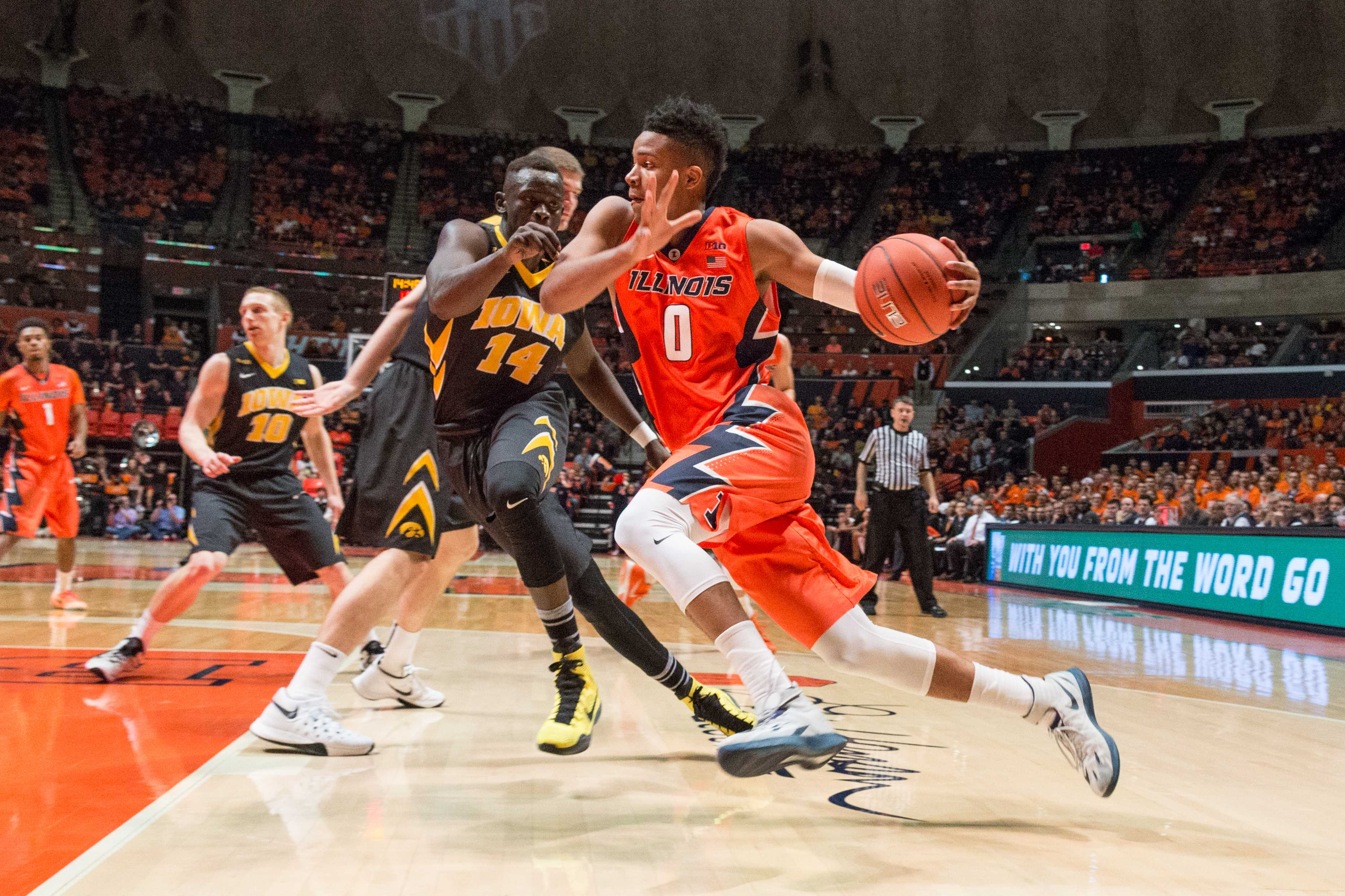 Illinois' D.J. Williams drives to the basket during the game against Iowa at the State Farm Center on February 7. The Illini lost 77-65.