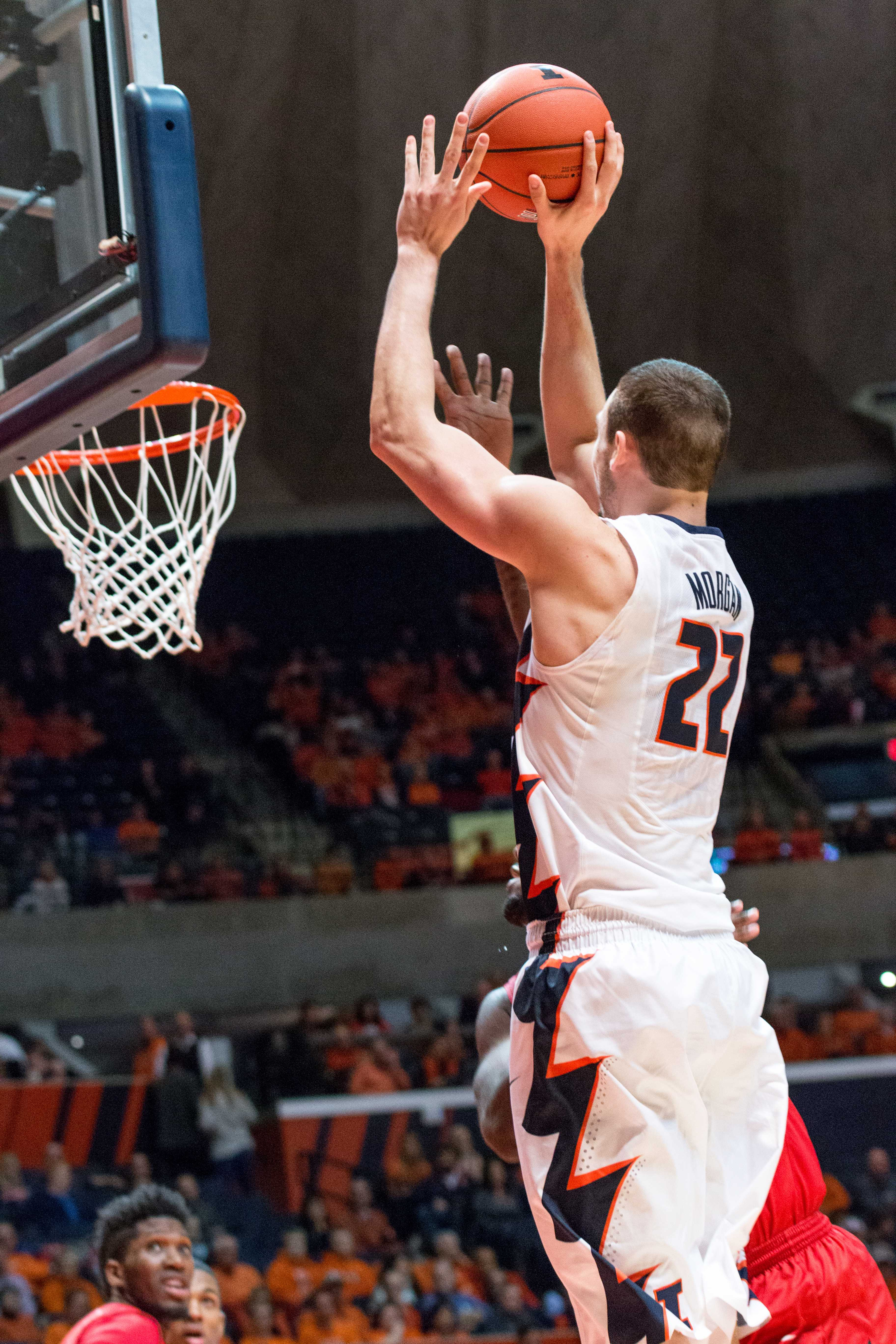 Illinois' Maverick Morgan takes a short jumper during the game against Rutgers at the State Farm Center on February 17. The Illini won 82-66.