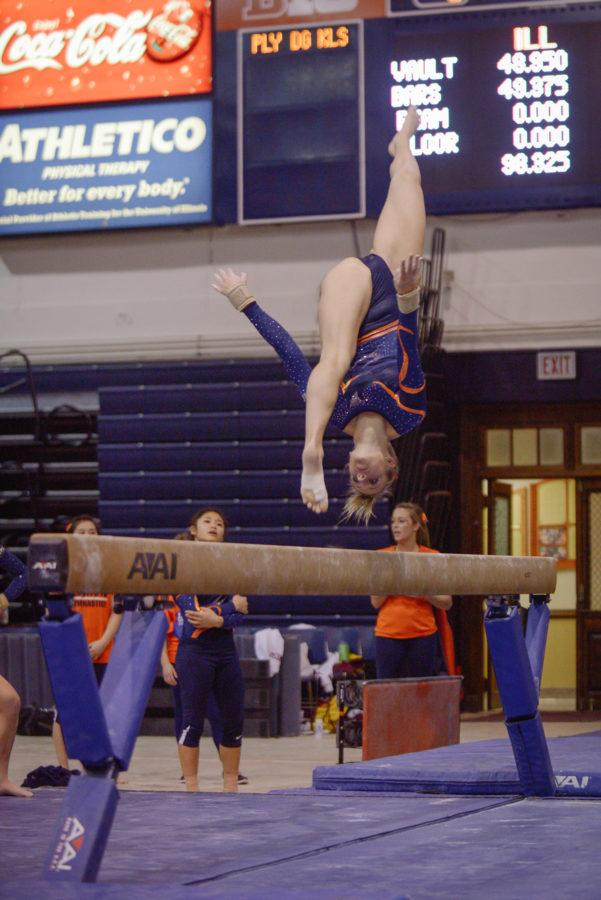 Illinois%27+Heather+Foley+performs+a+routine+on+the+balance+beam+during+the+meet+against+Minnesota+at+Huff+Hall+on+Saturday%2C+February+7%2C+2015.+The+Illini+won+195.775-195.375.