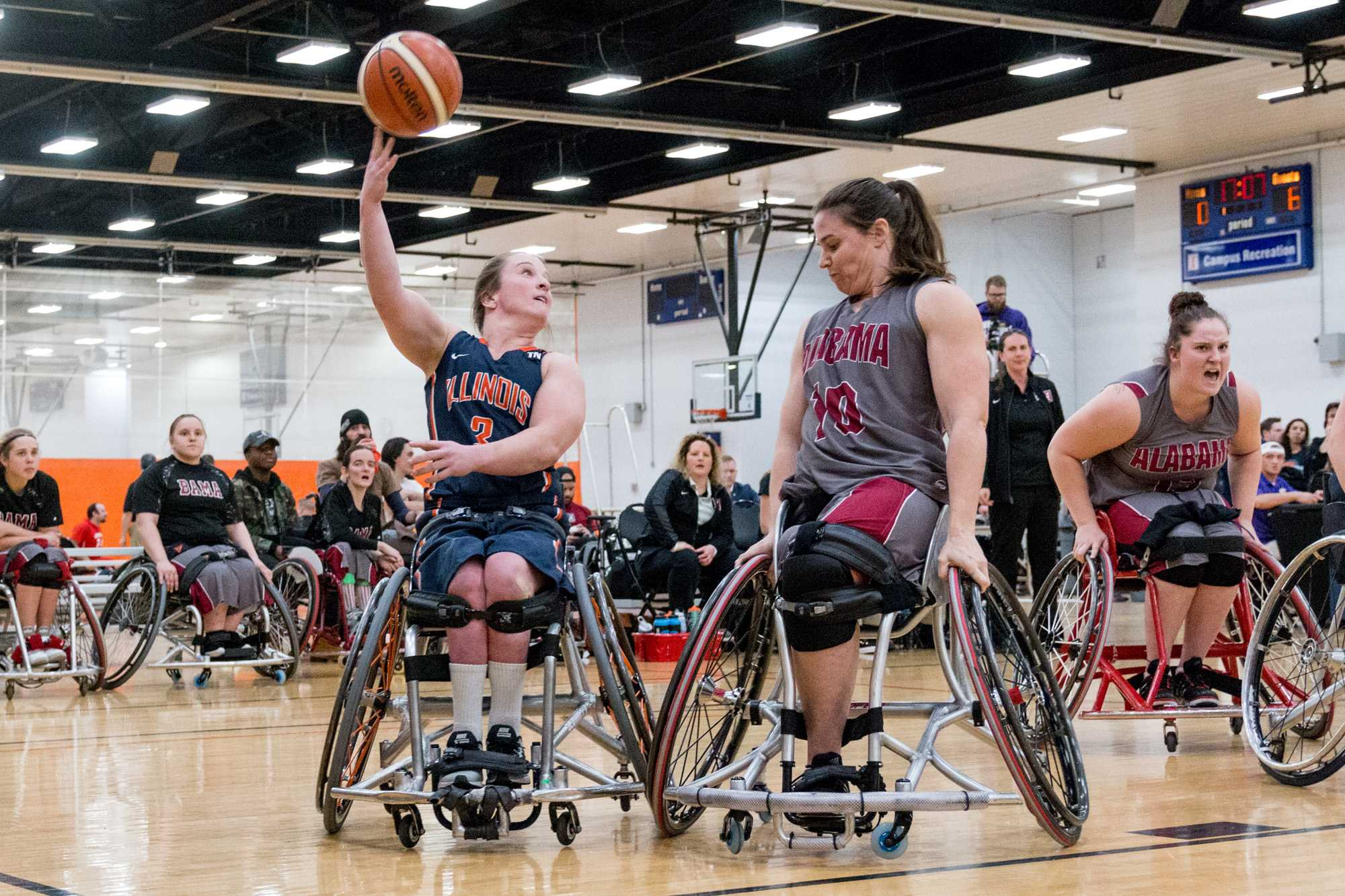 Illinois' Gail Gaeng (3) attempts a shot during the wheelchair basketball game v. Alabama at the ARC on Friday, Feb. 12, 2016. Illinois won 56-47.