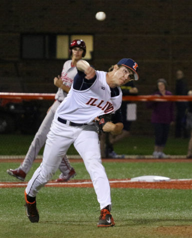 Illinois' Cody Sedlock (29) throws the ball to first base during the baseball game v. Indiana at Illinois Field on Friday, Apr. 17, 2015. Illinois won 5-1.