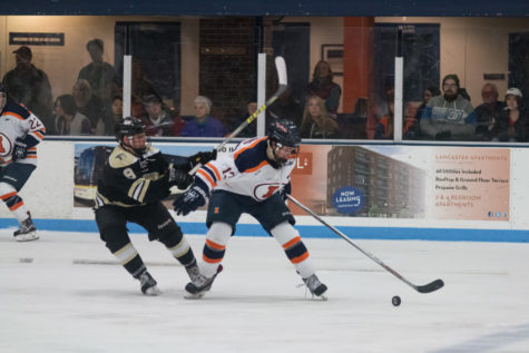 Illinois' James Mcging fights off a defender during the game against Lindenwold University at the Ice Arena on Saturday, January 30. The Illini lost 4-1.