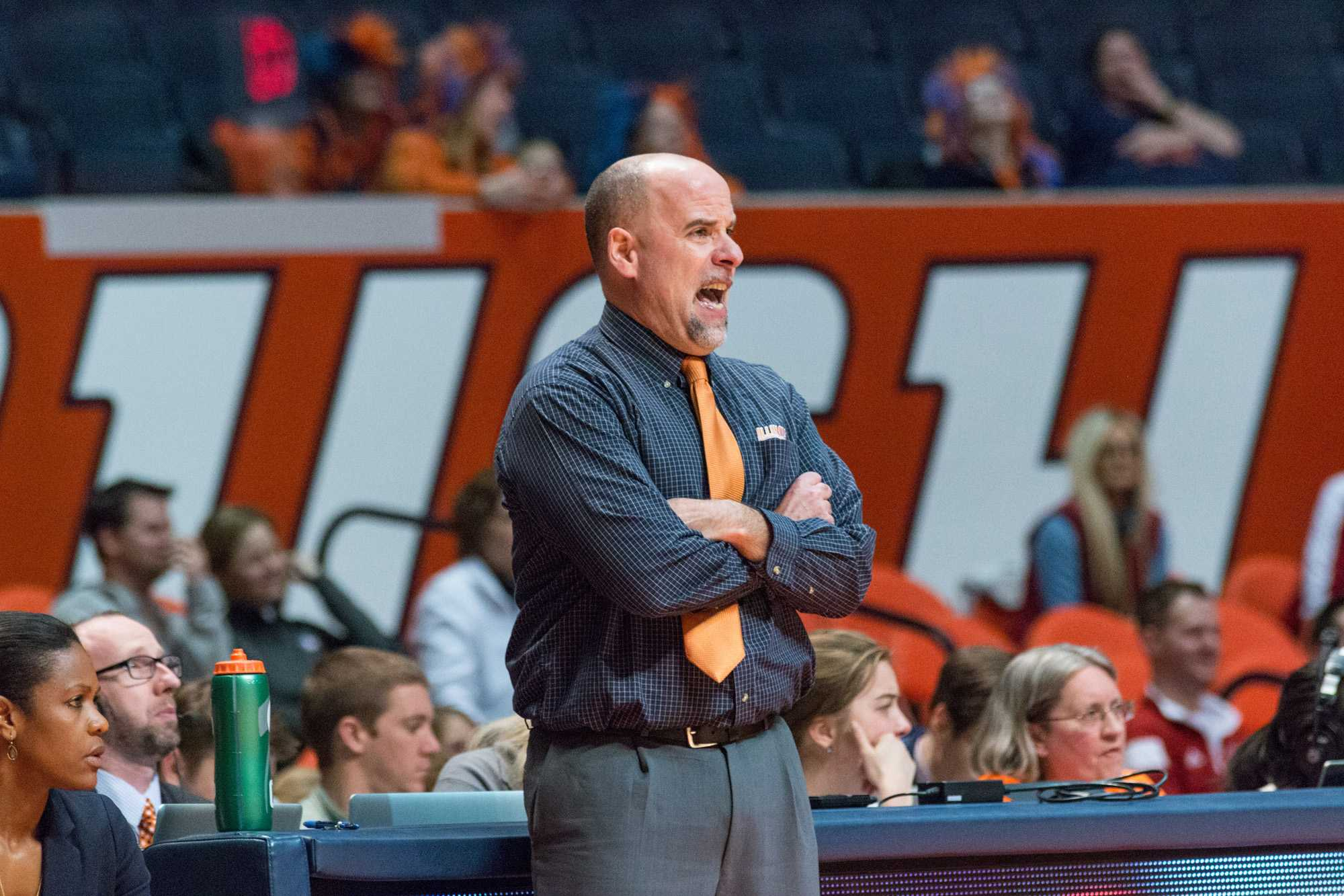 Illinois head coach Matt Bollant shouts instructions at his team during the game against Indiana at the State Farm Center on Feb. 10. The Illini lost 80-68.