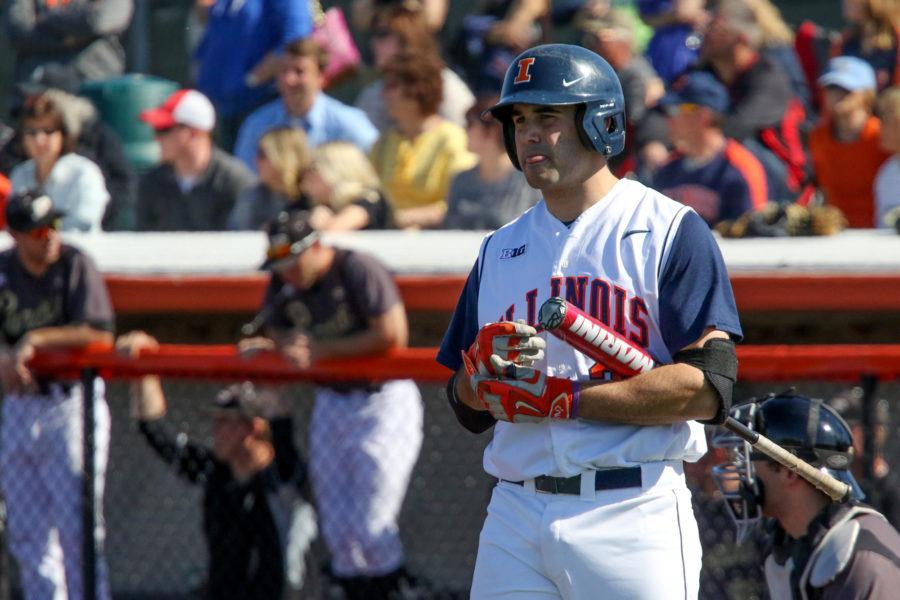 Illinois Jason Goldstein (34) waits to bat during the baseball game v. Purdue at Illinois Field on Saturday, Apr. 11, 2015. Illinois won 10-5.