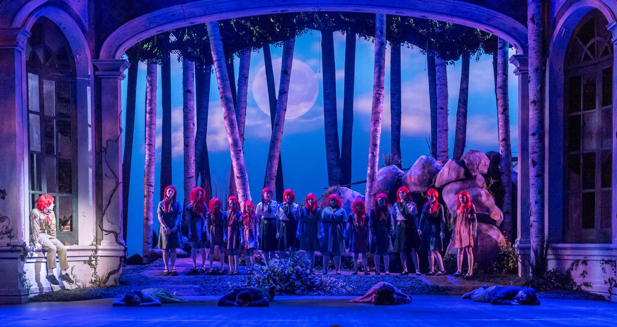 The fairies gather to sleep with the couples near the end of Act 1 during a rehearsal of