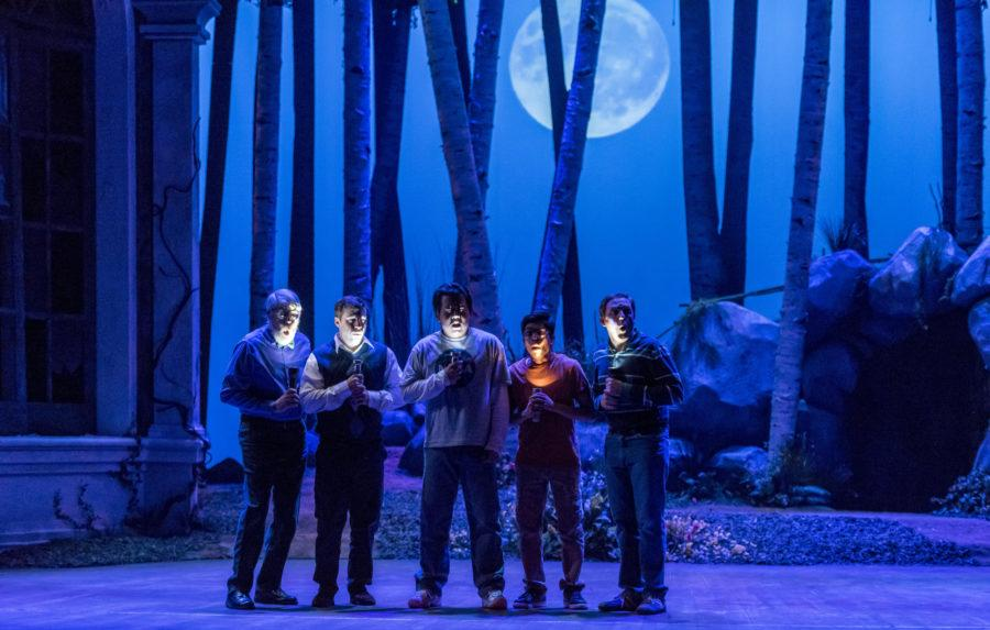 The Rustics gather to search for Bottom during a rehearsal of
