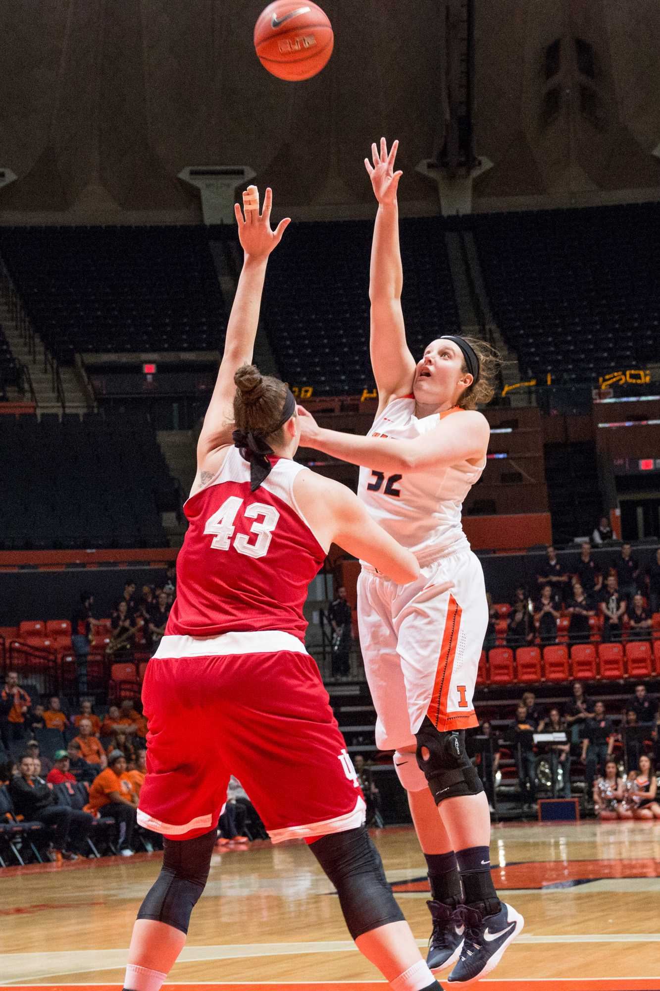 Illinois' Chatrice White shoots a hook shot during the game against Indiana at the State Farm Center on Feb. 10. The Illini lost 70-68.